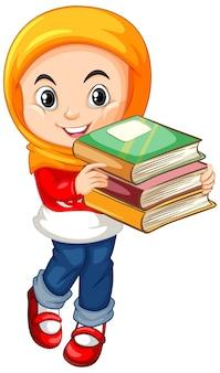 本を持ってかわいい女の子