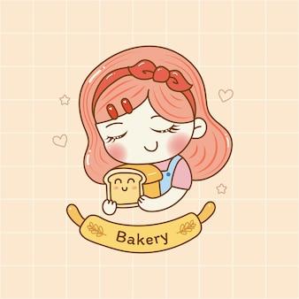 Милая девушка держит хлеб пекарня логотип мультфильм рука рисовать