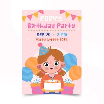 ケーキを持って風船のポスターに囲まれてかわいい女の子