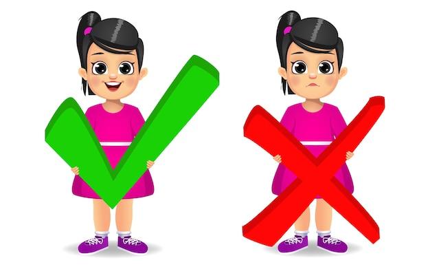 Милая девочка держит правильный и неправильный вектор знака