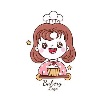 Милая девушка держит кекс пекарня логотип мультфильм рука рисовать