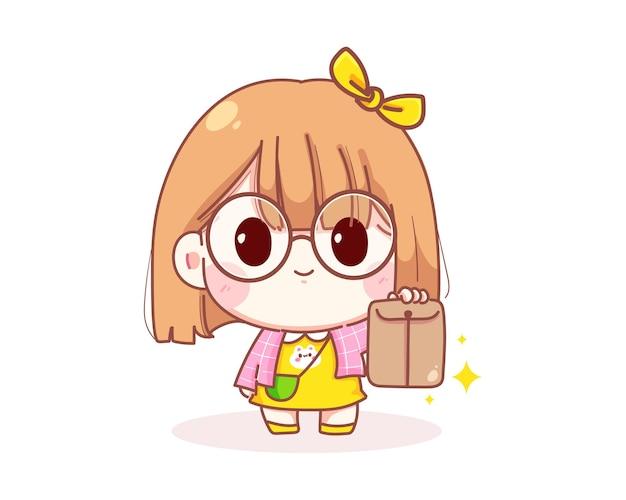 봉투 만화 일러스트를 들고 귀여운 소녀
