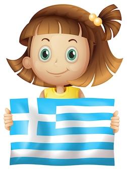 かわいい女の子、ギリシャの国旗 無料ベクター