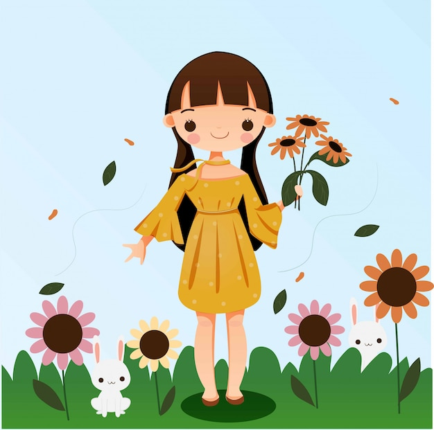 Cute girl holding flower with rabbit cartoon illustration