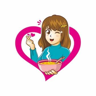 愛のスープの描画を保持しているかわいい女の子