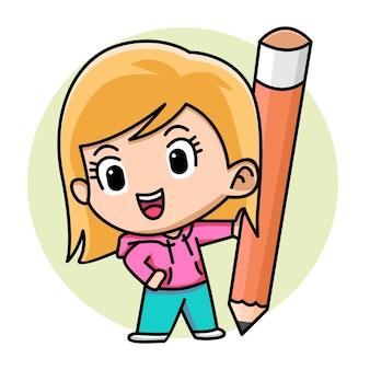 鉛筆漫画イラストを保持しているかわいい女の子