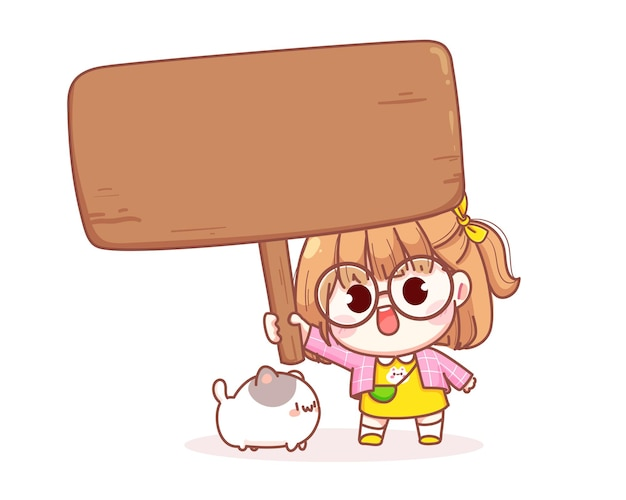 Милая девушка держит знак иллюстрации шаржа
