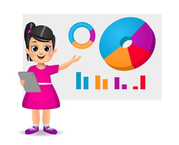 Милая девушка держит планшет и показывает круговую диаграмму