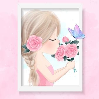 バラのイラストを保持しているかわいい女の子