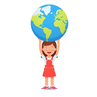 Cute girl holds planet earth over head