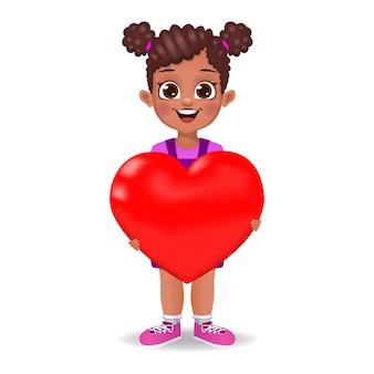 Cute girl holing heart
