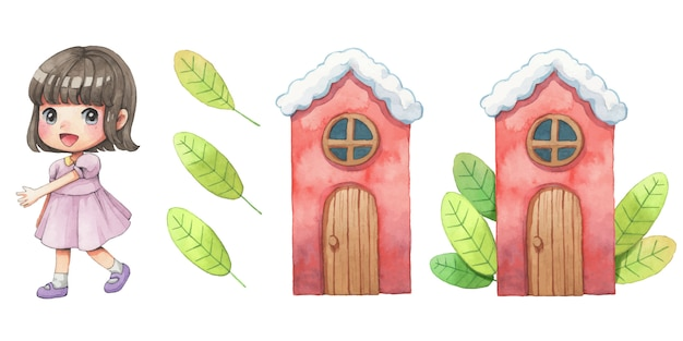 Cute girl, house and leves watercolor cartoon