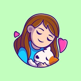 かわいい女の子の抱擁犬の漫画イラスト。フラット漫画スタイル