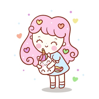 Cute girl hug little unicorn