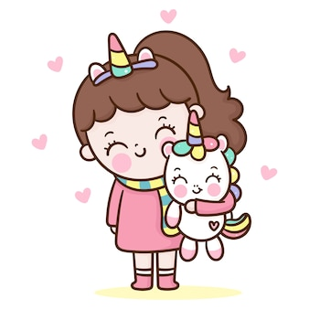 Cute girl hug unicorn cartoon kawaii style