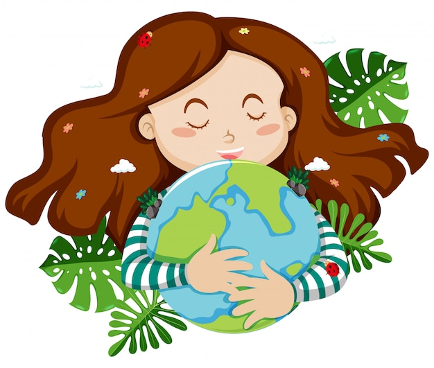 Cute girl hugging blue earth with leaves in background