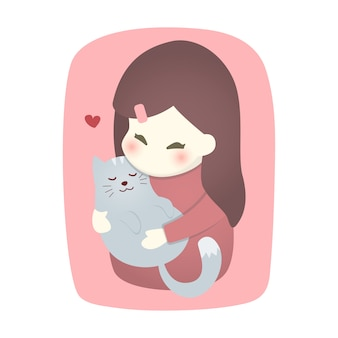 Cute girl hugging cat with love