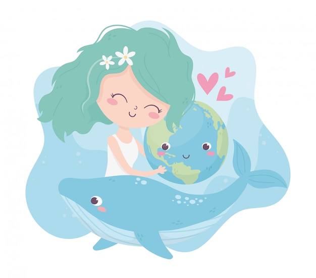 Cute girl hugging world whale love hearts environment ecology