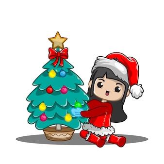 크리스마스를위한 귀여운 소녀 그림
