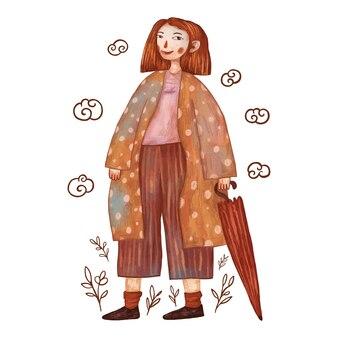 Милая девушка иллюстрация держит зонтик