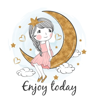 Cute girl illustration sit down on the moon gold