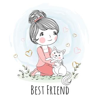 かわいい女の子のイラストはかわいい猫のカードで座る