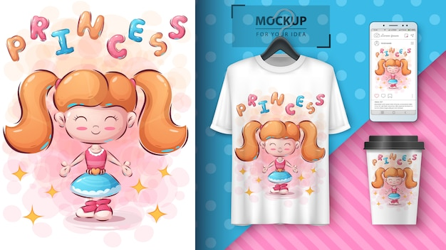 Cute girl illustration for t-shirt and merchandising