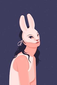 Милая девушка в белом платье в маске кролика