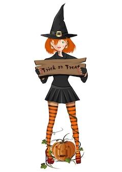 Милая девушка в костюме ведьмы с табличкой с текстом - кошелек или жизнь. джек-о-фонарь. люди в карнавальных костюмах на белом фоне