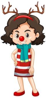 クリスマスの衣装の漫画のキャラクターのかわいい女の子