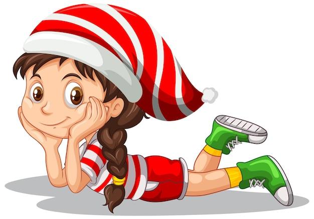 Милая девушка в рождественском костюме мультипликационный персонаж