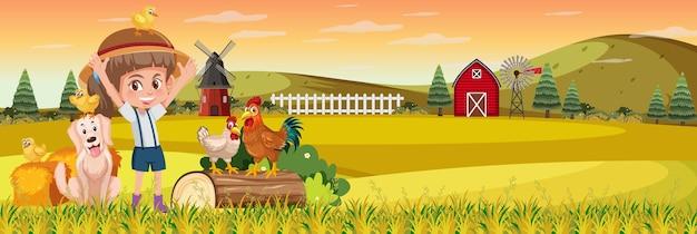 일몰 시간에 자연 농장 가로 풍경 장면에서 귀여운 소녀 프리미엄 벡터