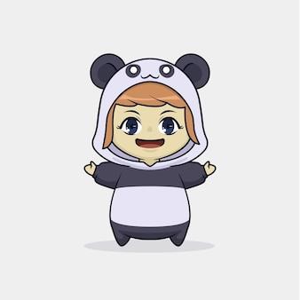 팬더 의상 캐릭터의 귀여운 소녀