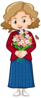 美しい花を保持している赤いシャツでかわいい女の子