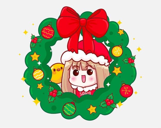 산타 클로스 의상과 크리스마스 화환 그림에서 귀여운 소녀