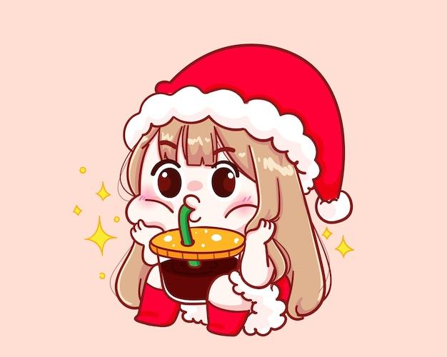 산타 클로스 의상에서 귀여운 소녀 커피 빨판 그림