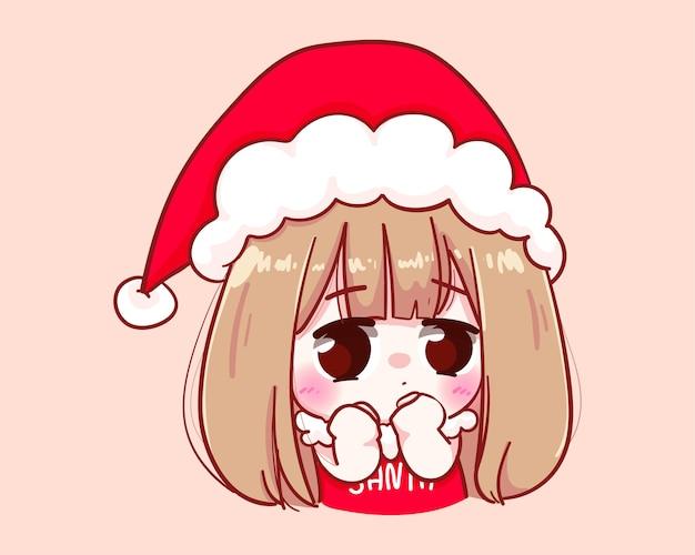 산타 클로스 의상을 입은 귀여운 소녀 당황한 메리 크리스마스 일러스트