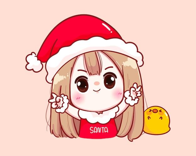 산타 클로스 의상에서 귀여운 소녀 해피 메리 크리스마스 일러스트
