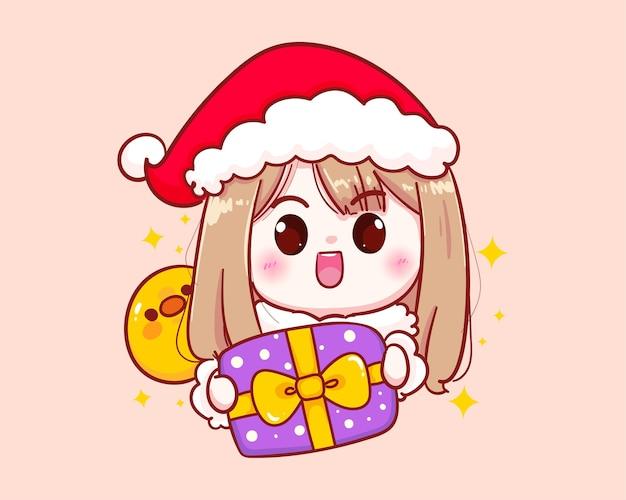 Милая девушка в костюме санта-клауса держит фиолетовую иллюстрацию подарочной коробки