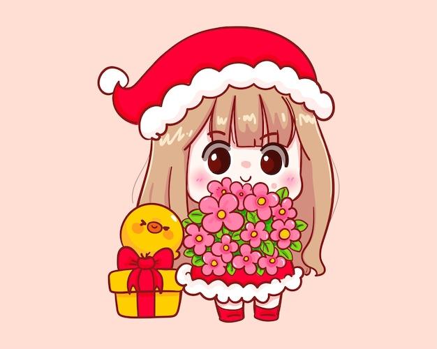 그림을 축하하기 위해 꽃을 들고 산타 클로스 의상 귀여운 소녀