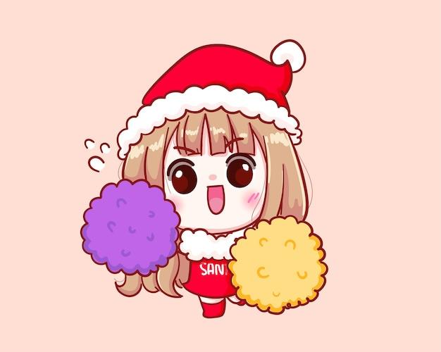 Pom pom 그림을 들고 산타 클로스 의상 귀여운 소녀