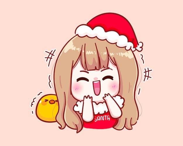 산타 클로스 의상 웃음 그림에 귀여운 소녀