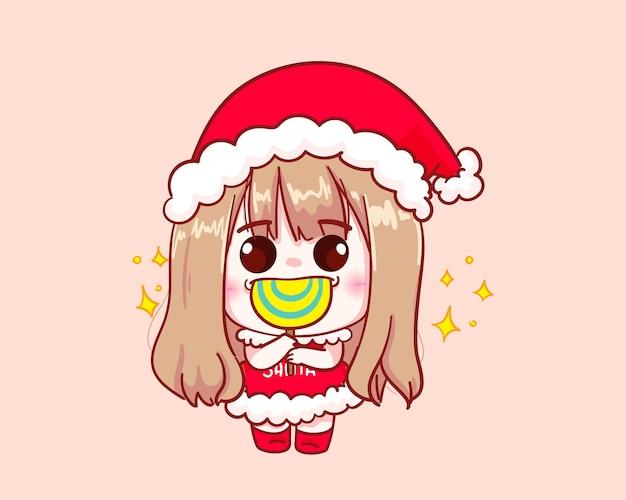 산타 클로스 의상 롤리팝 그림에 귀여운 소녀