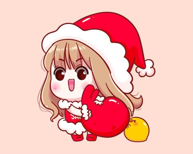 산타 클로스 의상 메리 크리스마스 일러스트에서 귀여운 소녀