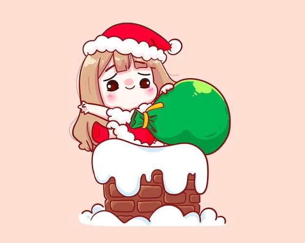 굴뚝 그림에 산타 클로스 의상 귀여운 소녀