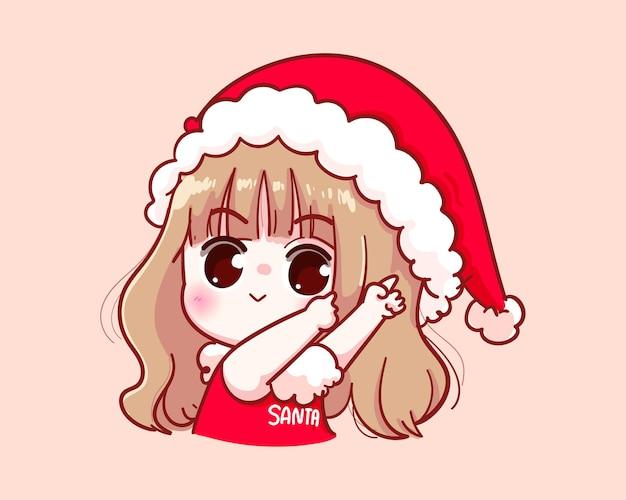 산타 클로스 의상 그림을 가리키는 귀여운 소녀