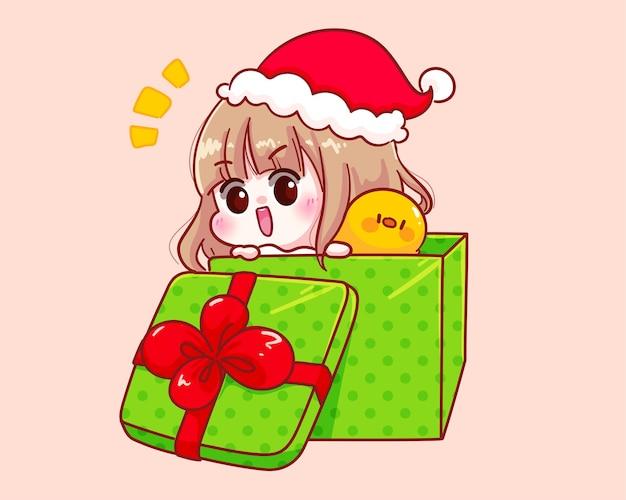 산타 클로스 의상을 입은 귀여운 소녀가 선물 상자 그림에서 튀어 나옴