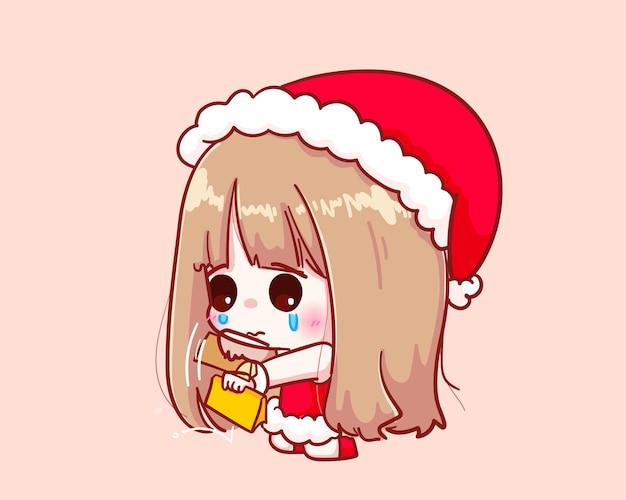 Милая девушка в костюме санта-клауса встряхните бумажник, иллюстрация