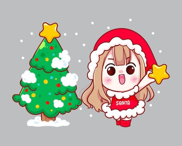 Милая девушка в костюме санта-клауса с иллюстрацией елки