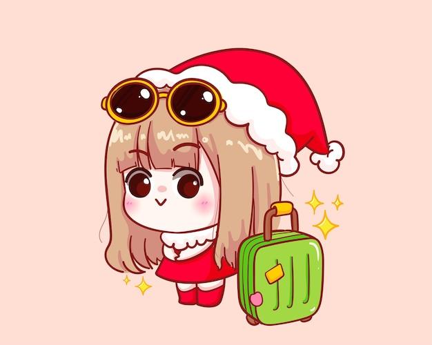 Милая девушка в костюме санта-клауса с чемоданом иллюстрации